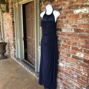 David's Bridal marine blue high neck dress size 10